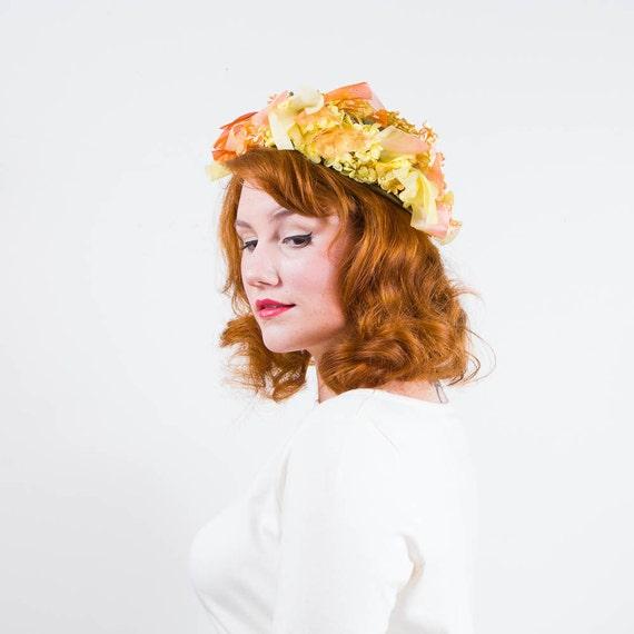 vintage 1950s hat / floral hat / Christian Dior