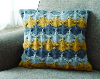 Knit decorative Pillow pattern/ tutorial PDF Geometric  knitting - cushion PHOTO tutorial unique knitting stitch - Instant DOWNLOAD