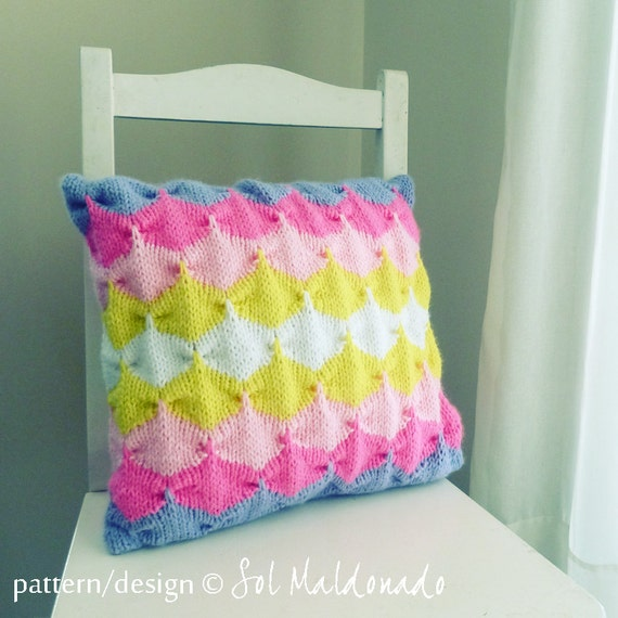 Geometric pattern Cushion knit pattern/ tutorial PDF by bySol