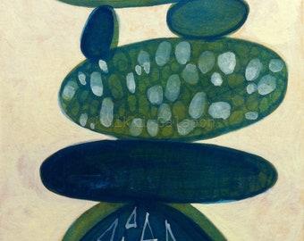 "Blue Stacks, Original Abstract Panting on paper, 6""x8"", original modern art"