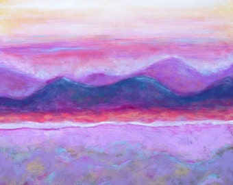 "Original Abstract Landscape Painting on gessoed cradled board, Modern Art, 16""x16"", purple, yellow, pink, white, blue"