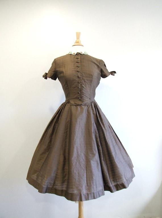 1950s Party Dress Vintage 50s Brown Full Skirt Dress - M