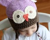 Purple Girls Hat, Owl Hat, Childrens Winter Hat - lavender and brown