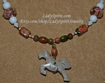 Fossil Jasper Unakite  Running Horse Necklace Set