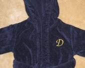 Navy Blue Child's bath or pool robe with custom embroidery