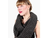 slate gray cowl scarf hand crocheted in 100% wool, long chunky snood in grey