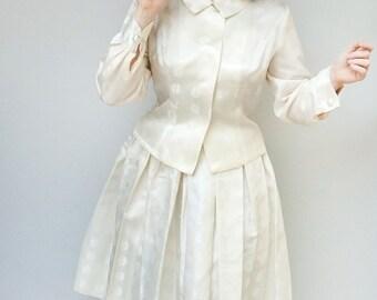 Vintage 1950s Dress - Dovima - White Silk Brocade White Wedding New Look Jacket Skirt Set