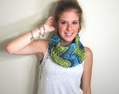 Chevron Scarf Knit Blue Green - The Annapolis Cowl