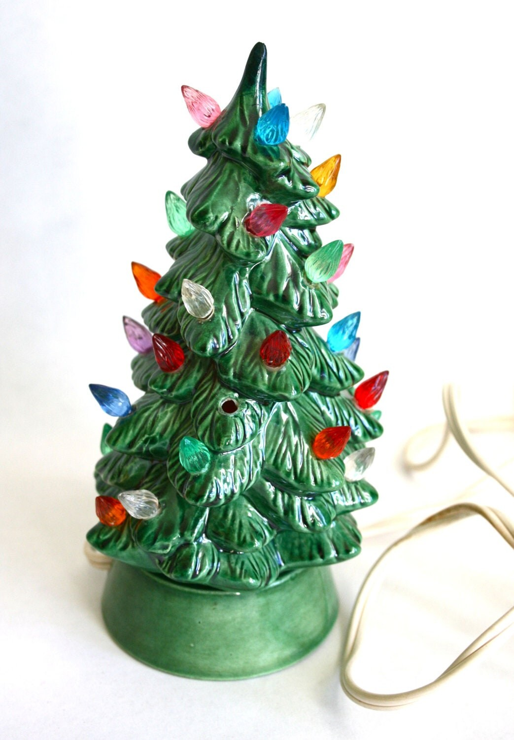 Tiny 1950s 1960s Light Up Ceramic Christmas Tree By
