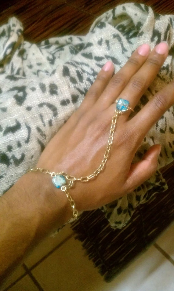 Gold Tone Teal Ring / Bracelet Hand Piece