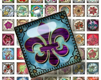 Digital Collage Stylized Colored Curl - 63 1 Inch Square JPG images - Digital Collage Sheet