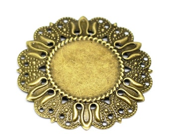 Filigree : 10 Antique Bronze / Brass Filigree Flower Cabochon Settings   Metal Stampings -- Lead, Nickel & Cadmium Free 18544.P