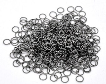 7mm Jump Rings : 100 pieces Gunmetal Open Jump Rings 7mm x .7mm (21 Gauge) -- Lead, Nickel, & Cadmium free Jewelry Findings 7/.7-4