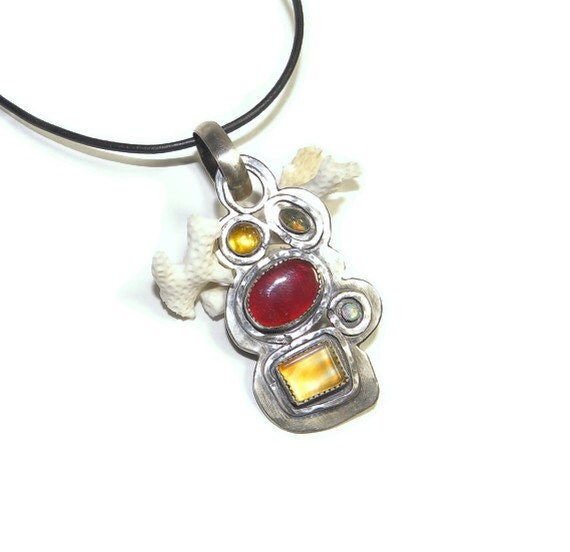 Inspired Art Pendant of Sterling and Semiprecious Stones P106