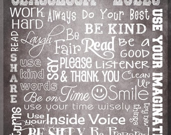 "CLASSROOM RULES SIGN - Personalized Teacher Gift - Canvas Word Art - Ready to Hang 11"" x 14"" Other sizes/colors available"
