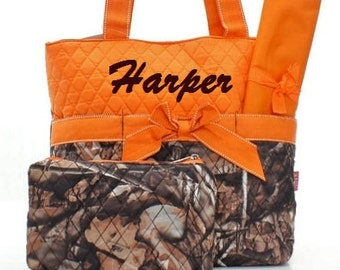 Personalized Diaper Bag Quilted 3pc Set Camo Orange