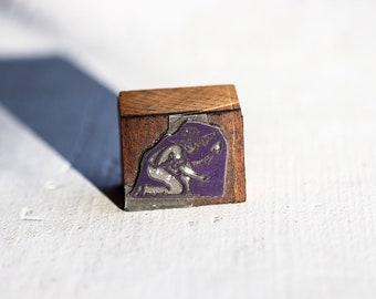 Little Boy Digging Vintage Letterpress 3507 Wood Printer's Block Off #12