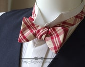 Self tie bow tie - for men, mens freestyle bowtie - red plaid fabric with plain red linen on reverse.