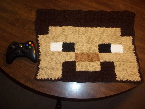 Minecraft Steve Crochet Rug Ready to Ship by harmonden on Etsy