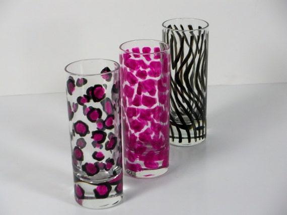 Super fun shot glasses / wedding shot glasses / Z e b r a G i r a f f e C h e e t a h / Hand painted animal print pink and black / set of 3