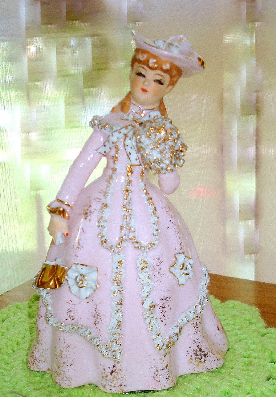 Vintage Lefton Pink Lady Figurine Hand Painted Porcelain