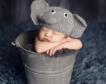 newborn photo prop, elephant newborn/ baby hat, newborn boy, newborn girl, newborn knit hat, newborn props, hat, baby hat, newborn boy prop