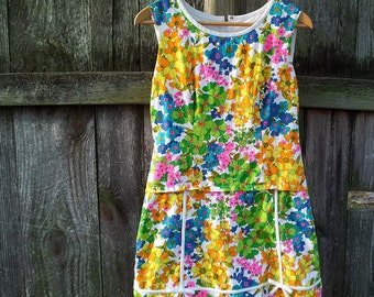1960s Mod Shift Dress 60s Vintage Floral Sundress Gregg Draddy Cotton Romper Psychedelic Neon Rainbow Multicolor Summer Mini Scooter Dress
