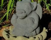MEDIUM MEDITATING GARGOYLE Solid Stone Garden Buddha Sculpture (a)