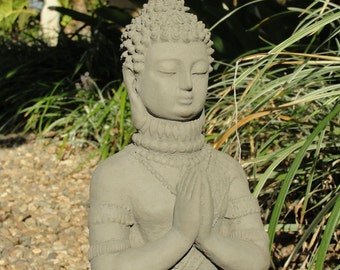 PRAYING BUDDHA STATUE Solid Stone Outdoor Garden Sanctuary Asian Figurine Decor Dark Concrete Accent Lawn Yard Art Meditating Sitting Buddah