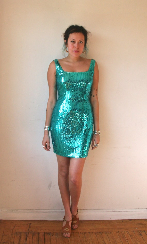 80 39 s mermaid sparkle sequin dress teal disco new for Glitter new years dresses