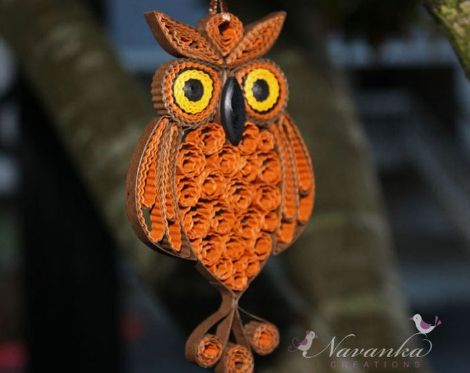 Owl Always love you - Paper Quilling Owl in a gift box , Paper Quilled Owl, Paper Anniversary Valentine's day