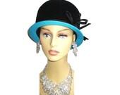 Vintage 1950s Hat Genuine Velour Femme Fatale Couture Mad Men Garden Party Rockabilly Designer Dress Pinup Bombshell Coat Jacket