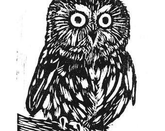 Hand Printed Owl Woodcut