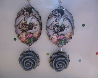 Vintage Lady Cameo Earrings, Gray Resin Roses, Photo Pendant Earrings, Photo Jewelry, Victorian Lady Earrings ON SALE Half Price