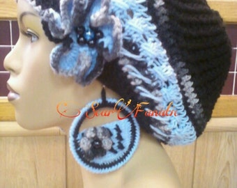 MADE TO ORDER Baby Blue Black and Gray slouch hat with free detachable flower clip and crochet earrings ooak