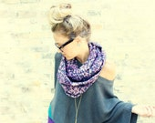 Circle Infinity Scarf - Purple Aztec Print.  Eternity scarf, loop scarf, tube scarf, winter scarf, hipster