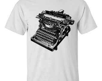 Mens Vintage Typewriter Screen Printed White Shirt