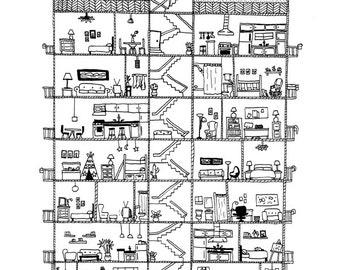 Apartment cross section print