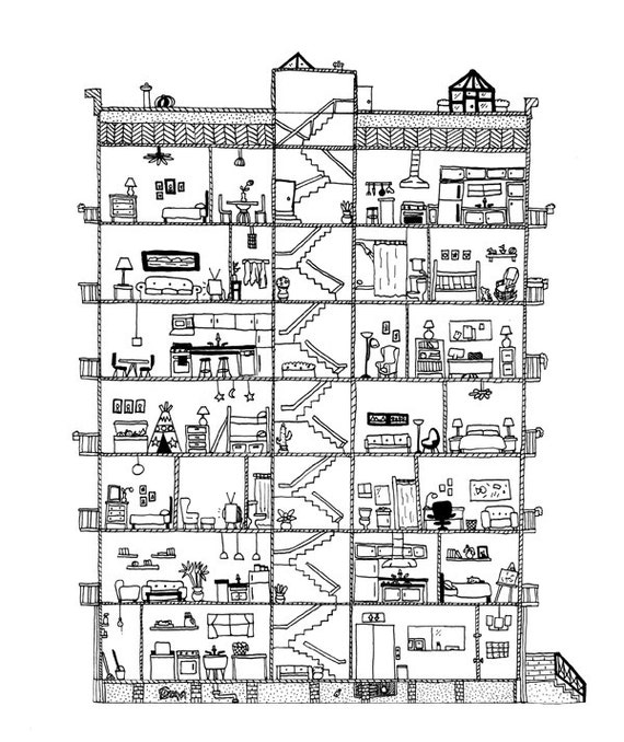 Section Apartments: Apartment Cross Section Print