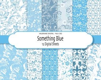 Blue Digital paper pack, floral digital papers, INSTANT DOWNLOAD Pack 392