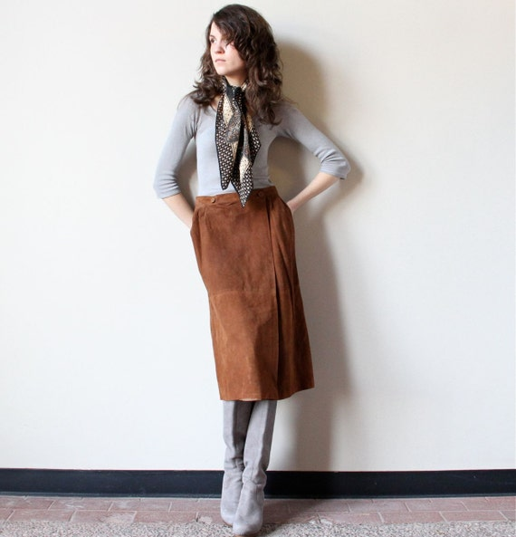 Chestnut Leather Wrap Skirt, 70s patchwork sienna brown suede minimalist equestrian prep office pencil skirt, boho hippie Fall Autumn color