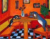 Cats Eating on Dining Table, Animals, Color, Cat food painting photo print