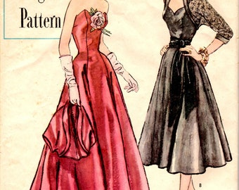 Bust 32-1950's Junior Misses' Evening Dress and Bolero  Simplicity Designer's Pattern 8335  Size 11