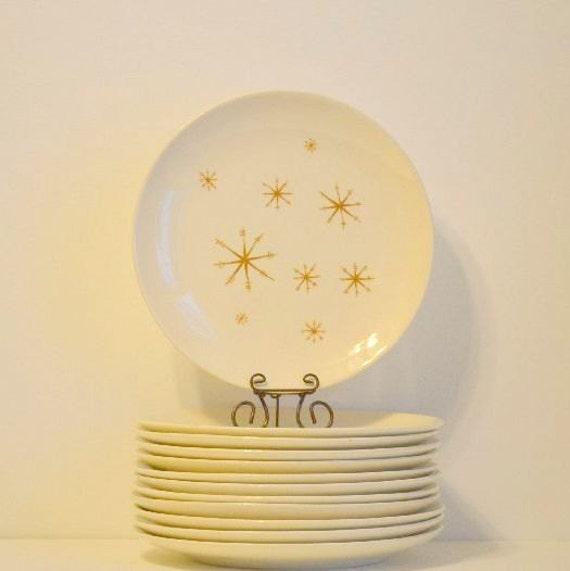 Vintage Star Glow Dinner Plates Royal China Ironstone : Set of 8