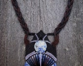 Handmade Micro Macrame Necklace with Lapis Lazuli Donut & Accent Stone