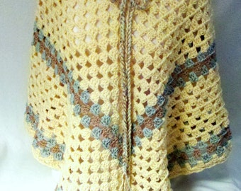 Poncho - Soft Butter with Green Tan Tweed Trim - Adjustable Neckline -  One Size Fits Adult Lady - I offer Layaway