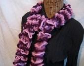 Knitted Ruffle scarf Pink Dark Purple Maroon Purple Mix frilly scarf for girls teens women Sindar Salsa