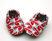Sale- Foxy Feet Organic Baby Shoes Handmade Booties Red Fox Organic Cotton 0 3 6 12 18 months - Baby Clothes Gift for Baby Eco Friendly