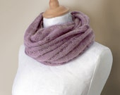 Knitted mohair cowl, snood in grey purple, mauve - foldi