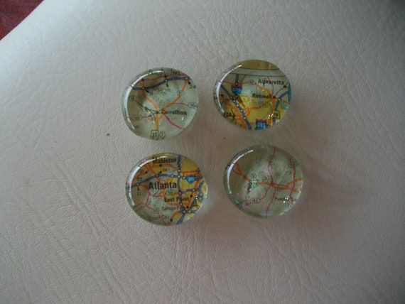 Glass Magnets with Atlanta GA Map Pages